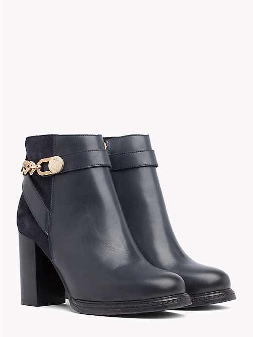 TOMMY HILFIGER Chain Embellished Heeled Ankle Boots - MIDNIGHT - TOMMY HILFIGER Heeled Boots - main image