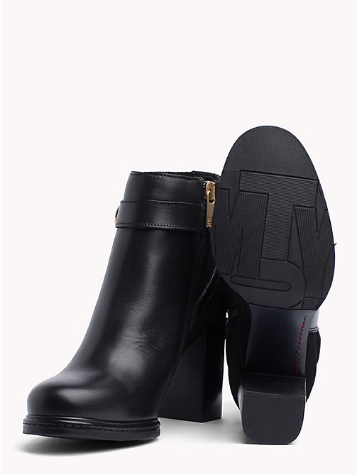 TOMMY HILFIGER Chain Embellished Heeled Ankle Boots - BLACK - TOMMY HILFIGER Shoes - detail image 1