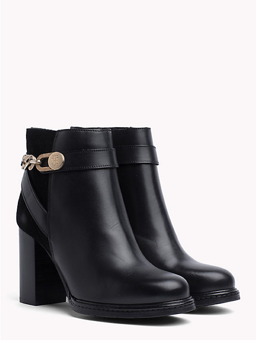 TOMMY HILFIGER Chain Embellished Heeled Ankle Boots - BLACK - TOMMY HILFIGER Shoes - main image