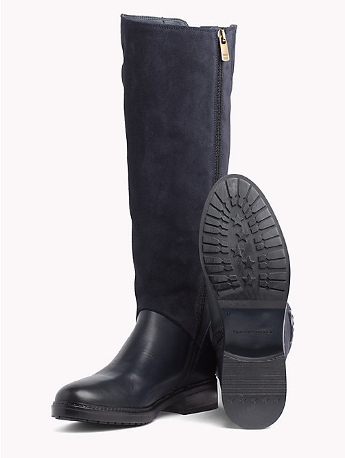 TOMMY HILFIGER Leather and Suede Riding Boots - MIDNIGHT - TOMMY HILFIGER Knee-High Boots - detail image 1