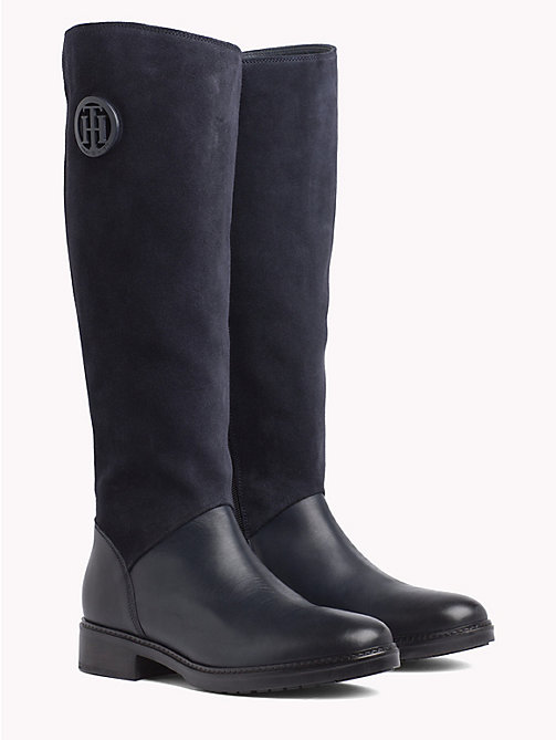 TOMMY HILFIGER Leather and Suede Riding Boots - MIDNIGHT - TOMMY HILFIGER Knee-High Boots - main image