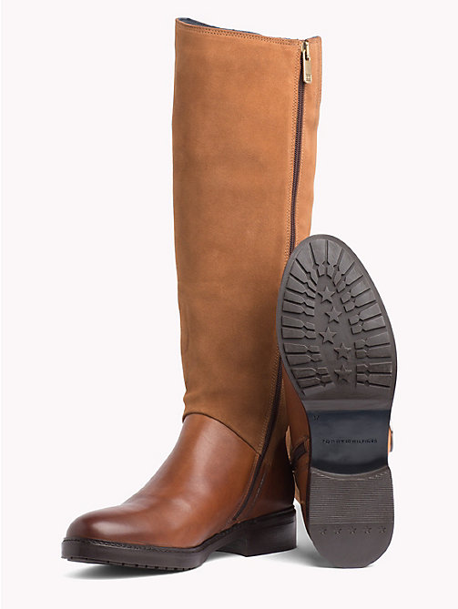 TOMMY HILFIGER Leather and Suede Riding Boots - COGNAC - TOMMY HILFIGER Knee-High Boots - detail image 1