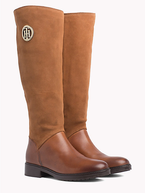 TOMMY HILFIGER Leather and Suede Riding Boots - COGNAC - TOMMY HILFIGER Shoes - main image