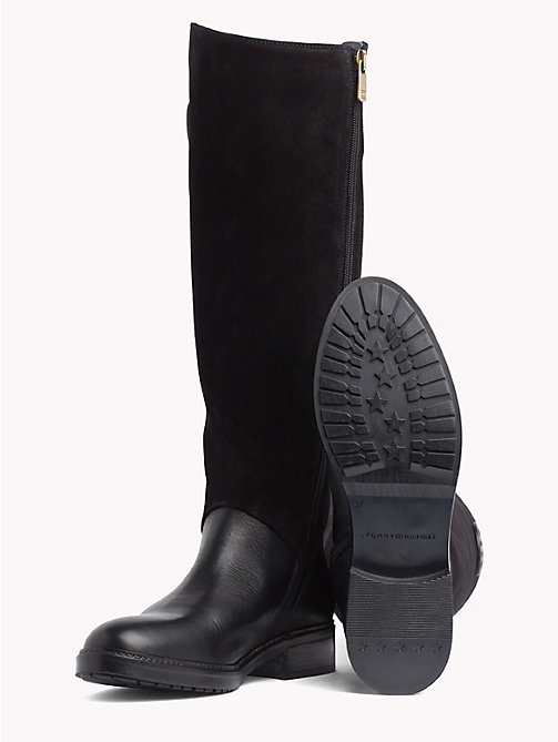 TOMMY HILFIGER Leather and Suede Riding Boots - BLACK - TOMMY HILFIGER Knee-High Boots - detail image 1