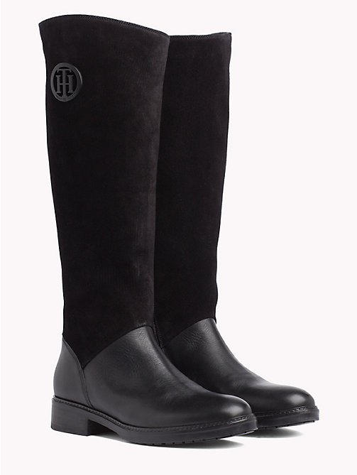 TOMMY HILFIGER Leather and Suede Riding Boots - BLACK - TOMMY HILFIGER Shoes - main image
