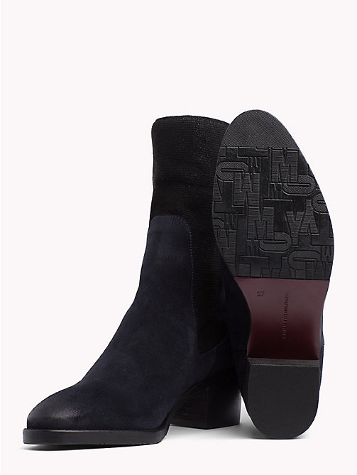 TOMMY HILFIGER Knitted Suede Sock Booties - MIDNIGHT - TOMMY HILFIGER NEW IN - detail image 1