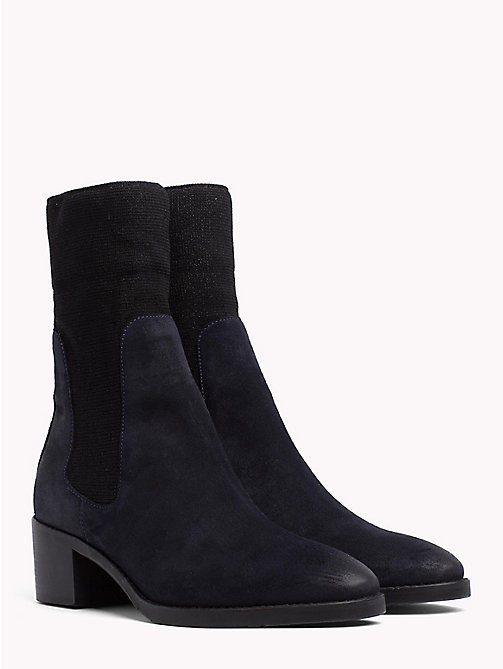 TOMMY HILFIGER Knitted Suede Sock Booties - MIDNIGHT - TOMMY HILFIGER NEW IN - main image
