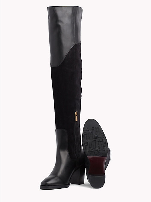 TOMMY HILFIGER Suede Knee High Boots - BLACK - TOMMY HILFIGER Shoes - detail image 1