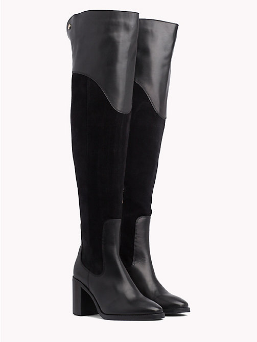 TOMMY HILFIGER Suede Knee High Boots - BLACK - TOMMY HILFIGER Heeled Boots - main image