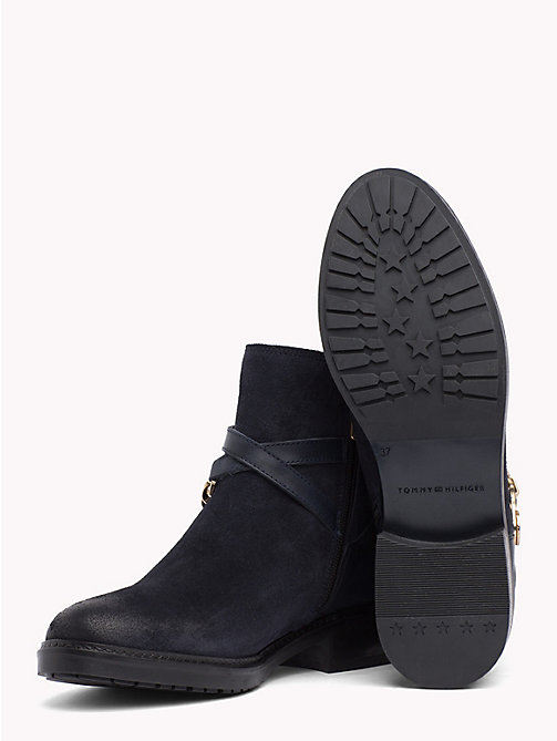 TOMMY HILFIGER Chain Embellished Suede Ankle Boots - MIDNIGHT - TOMMY HILFIGER Shoes - detail image 1