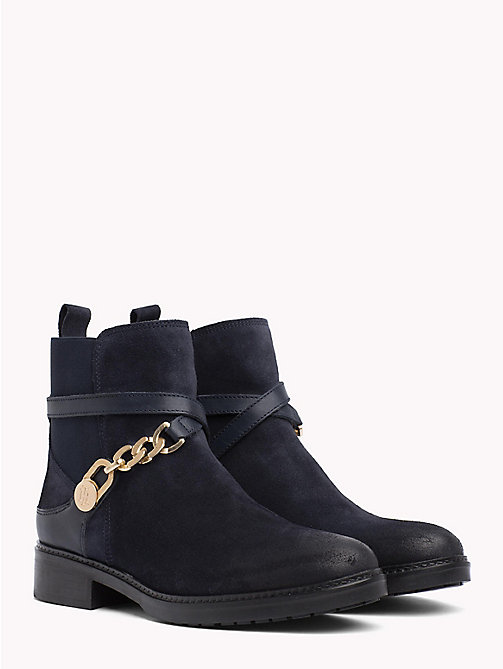 TOMMY HILFIGER Chain Embellished Suede Ankle Boots - MIDNIGHT - TOMMY HILFIGER Shoes - main image
