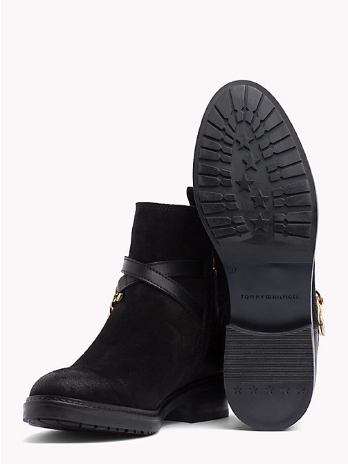TOMMY HILFIGER Chain Embellished Suede Ankle Boots - BLACK - TOMMY HILFIGER Ankle Boots - detail image 1