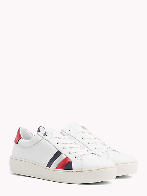 TOMMY HILFIGER Signature Stripe Leather Trainers - WHITE -  VACATION FOR HER - main image