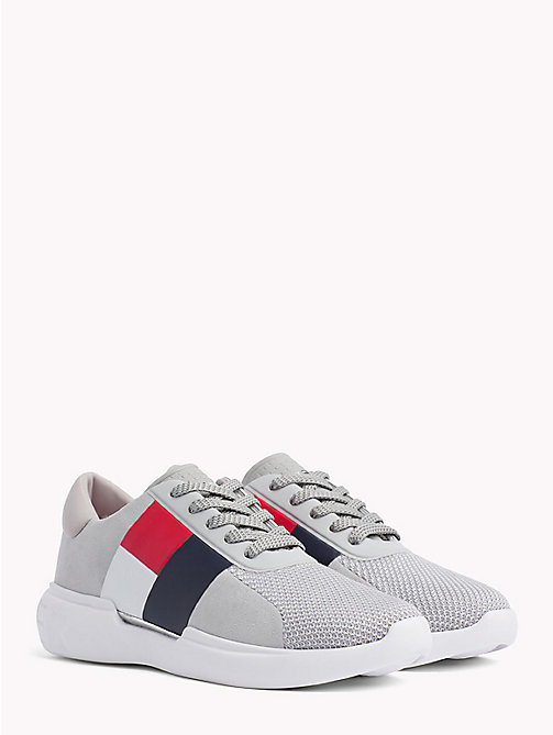 TOMMY HILFIGER Lightweight Colour-Blocked Flag Trainers - DIAMOND GREY - TOMMY HILFIGER Trainers - main image