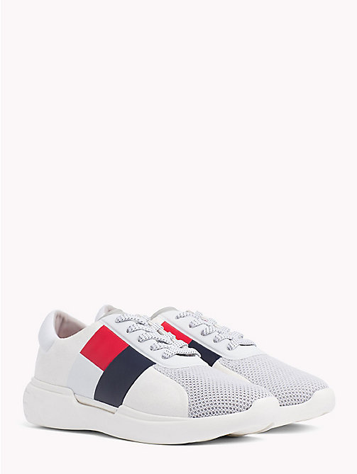 TOMMY HILFIGER Lightweight Colour-Blocked Flag Trainers - WHITE - TOMMY HILFIGER Trainers - main image