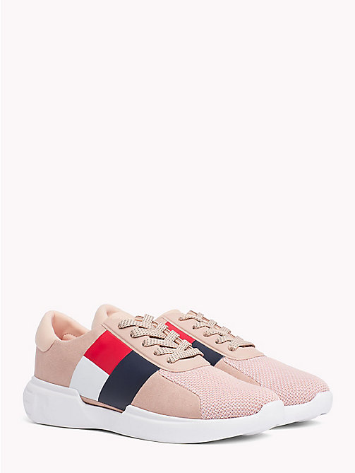TOMMY HILFIGER Lightweight Colour-Blocked Flag Trainers - MAHOGANY ROSE - TOMMY HILFIGER Trainers - main image