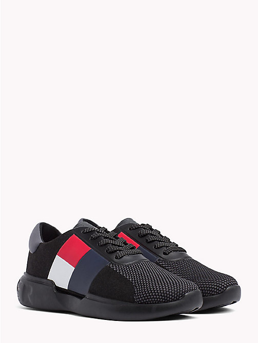 TOMMY HILFIGER Lightweight Colour-Blocked Flag Trainers - BLACK - TOMMY HILFIGER Trainers - main image