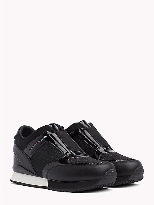 TOMMY HILFIGER Concealed Wedge Heel Trainers - BLACK - TOMMY HILFIGER NEW IN - main image