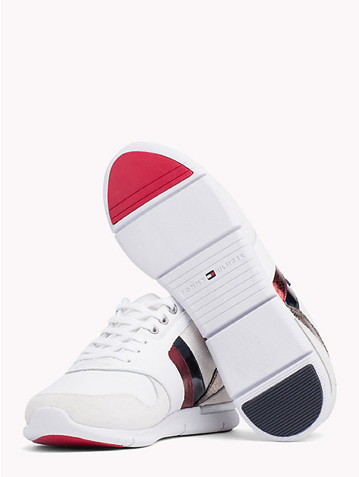 TOMMY HILFIGER Colour-Blocked Metallic Light Trainers - RWB - TOMMY HILFIGER Signature stripes - detail image 1