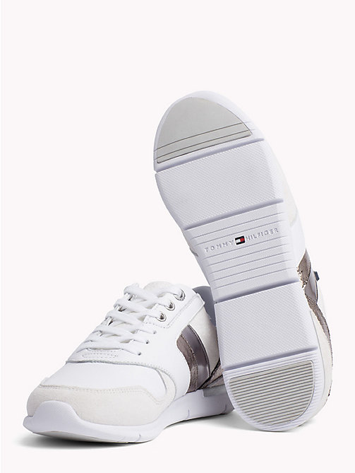 TOMMY HILFIGER Colour-Blocked Metallic Light Trainers - WHITE - SILVER - TOMMY HILFIGER Trainers - detail image 1