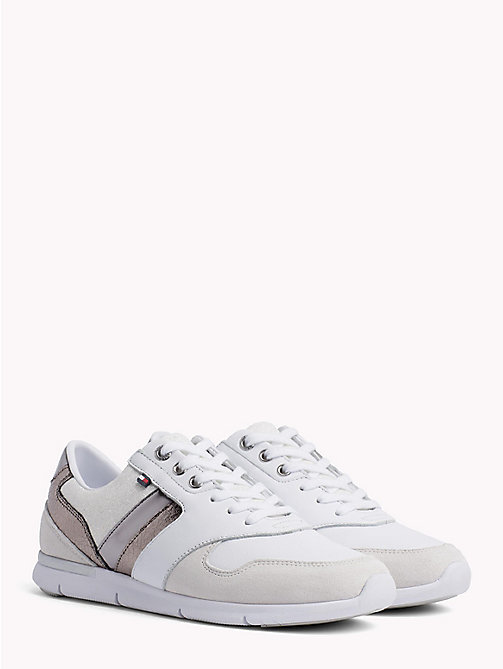 TOMMY HILFIGER Colour-Blocked Metallic Light Trainers - WHITE - SILVER - TOMMY HILFIGER Trainers - main image