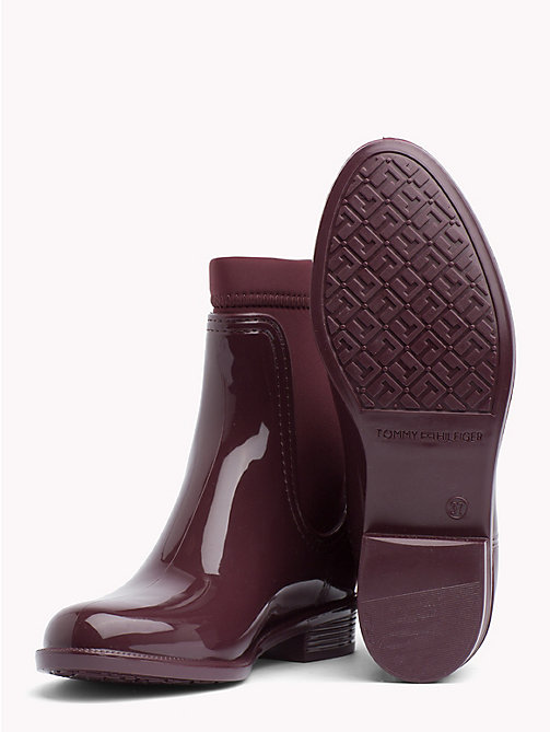 TOMMY HILFIGER Gloss Ankle Rain Boots - DECADENT CHOCOLATE - TOMMY HILFIGER Wellies - detail image 1
