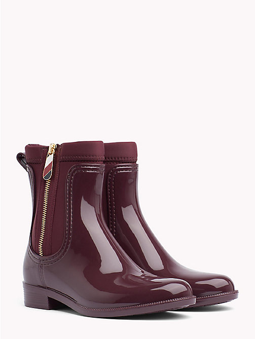 TOMMY HILFIGER Gloss Ankle Rain Boots - DECADENT CHOCOLATE - TOMMY HILFIGER Wellies - main image