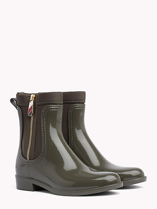 TOMMY HILFIGER Gloss Ankle Rain Boots - MILITARY - TOMMY HILFIGER Shoes - main image