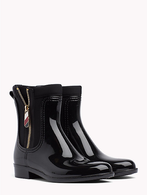 TOMMY HILFIGER Gloss Ankle Rain Boots - BLACK - TOMMY HILFIGER Shoes - main image
