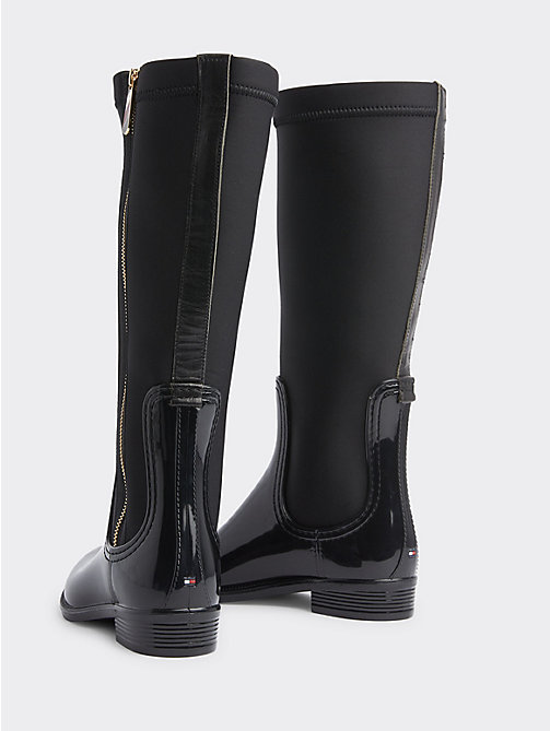 TOMMY HILFIGER Gloss Long Rain Boots - BLACK -  Shoes - detail image 1