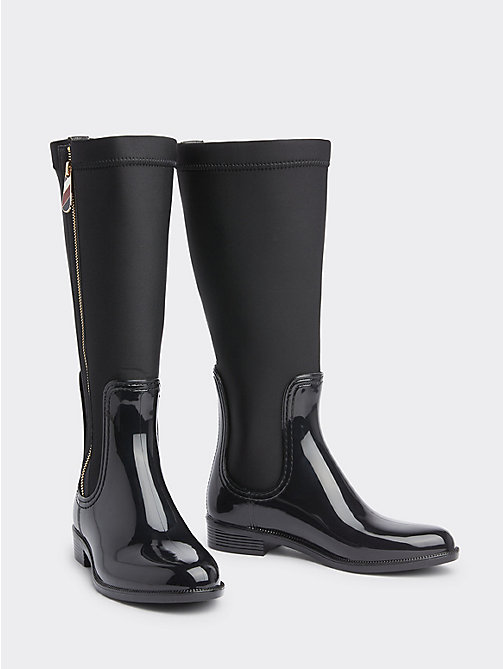 TOMMY HILFIGER Gloss Long Rain Boots - BLACK -  Shoes - main image