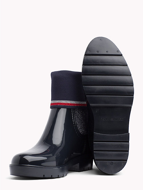 TOMMY HILFIGER Knitted Sock Rain Boots - MIDNIGHT - TOMMY HILFIGER Wellies - detail image 1