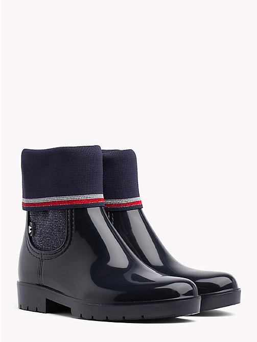 TOMMY HILFIGER Knitted Sock Rain Boots - MIDNIGHT - TOMMY HILFIGER Wellies - main image