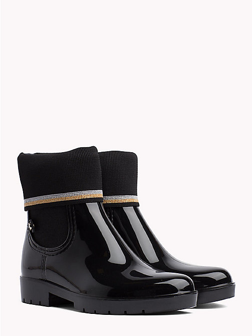 TOMMY HILFIGER Knitted Sock Rain Boots - BLACK - TOMMY HILFIGER Wellies - main image