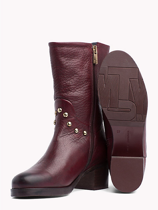 TOMMY HILFIGER Studded Leather Ankle Booties - DECADENT CHOCOLATE - TOMMY HILFIGER The shoe edit - detail image 1