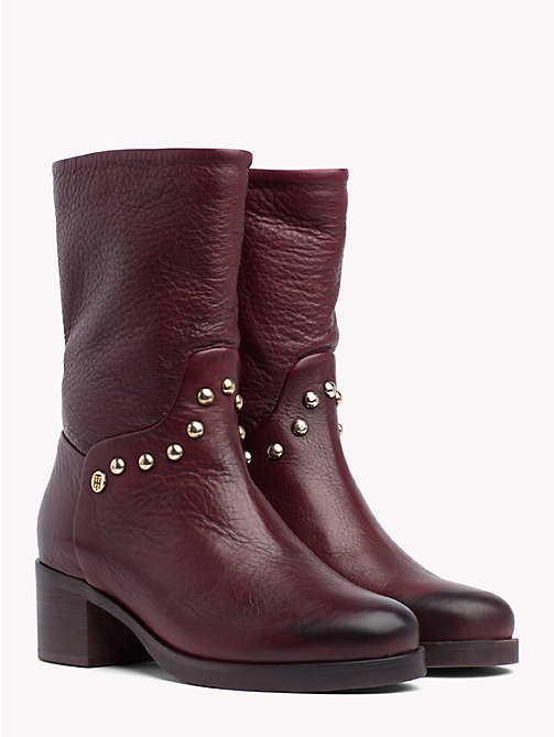 TOMMY HILFIGER Studded Leather Ankle Booties - DECADENT CHOCOLATE - TOMMY HILFIGER The shoe edit - main image