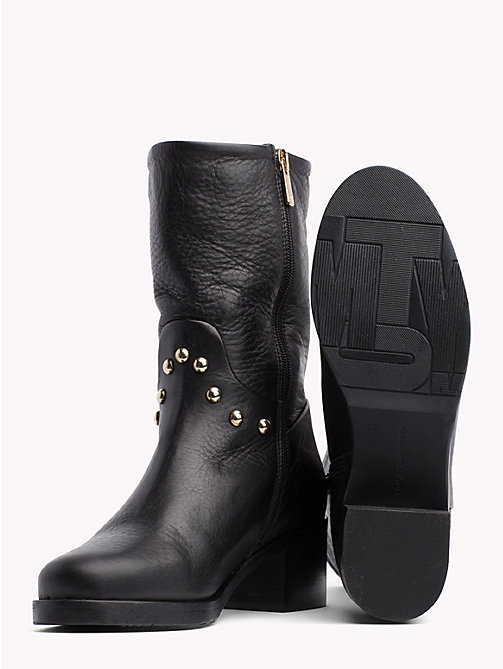 TOMMY HILFIGER Studded Leather Ankle Booties - BLACK - TOMMY HILFIGER Shoes - detail image 1