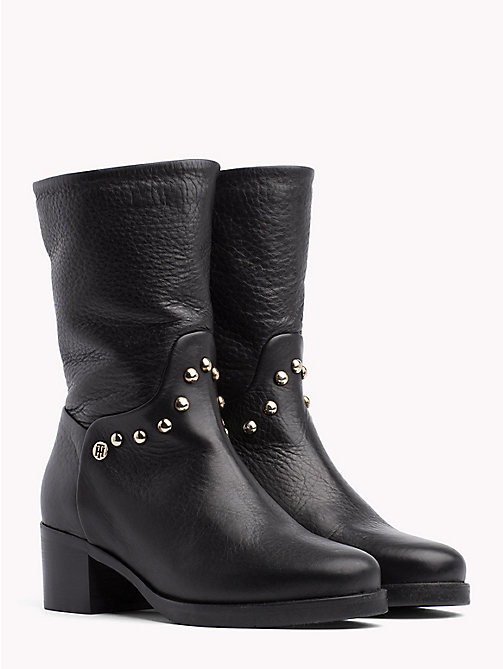 TOMMY HILFIGER Studded Leather Ankle Booties - BLACK - TOMMY HILFIGER Shoes - main image
