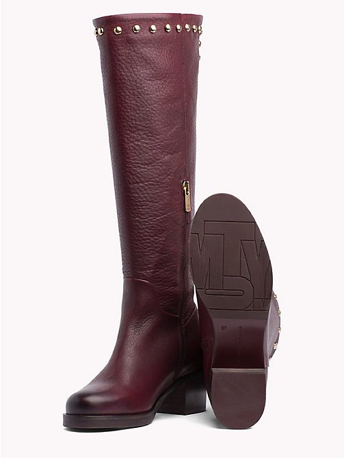 TOMMY HILFIGER Studded Long Boots - DECADENT CHOCOLATE - TOMMY HILFIGER Shoes - detail image 1