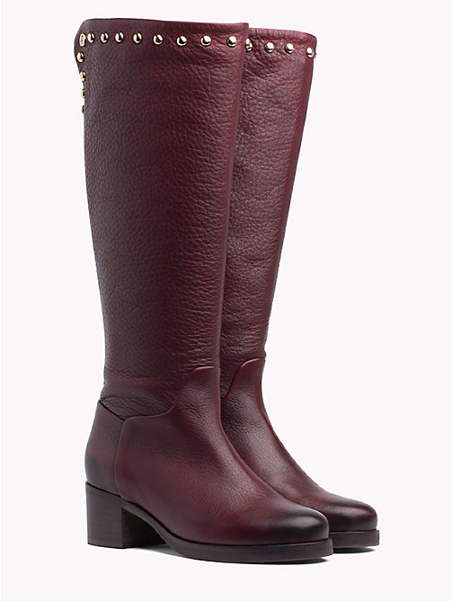 TOMMY HILFIGER Studded Long Boots - DECADENT CHOCOLATE - TOMMY HILFIGER Knee-High Boots - main image