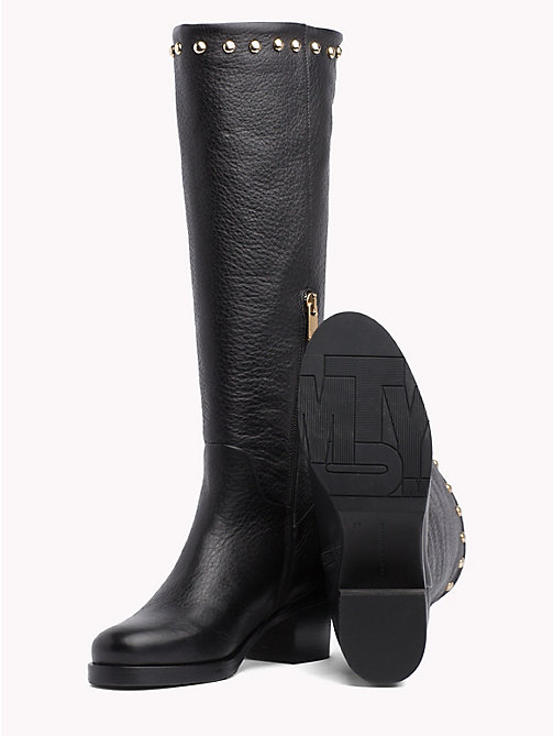 TOMMY HILFIGER Studded Long Boots - BLACK - TOMMY HILFIGER Shoes - detail image 1