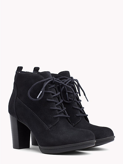 TOMMY HILFIGER Lace-Up Suede Boots - MIDNIGHT - TOMMY HILFIGER Heeled Boots - main image