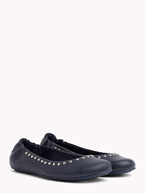 TOMMY HILFIGER Metallic Leather Ballerina Flats - TOMMY NAVY - TOMMY HILFIGER Ballerina Shoes - main image