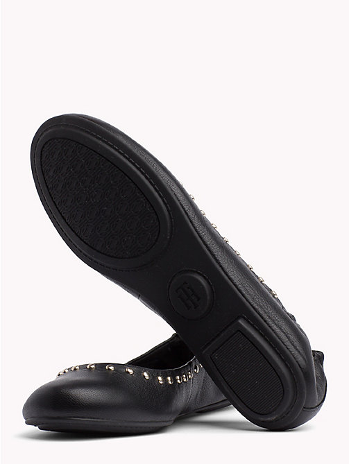 TOMMY HILFIGER Metallic Leather Ballerina Flats - BLACK - TOMMY HILFIGER Shoes - detail image 1