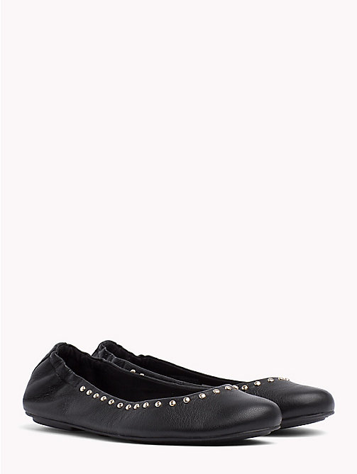 TOMMY HILFIGER Metallic Leather Ballerina Flats - BLACK - TOMMY HILFIGER Ballerina Shoes - main image