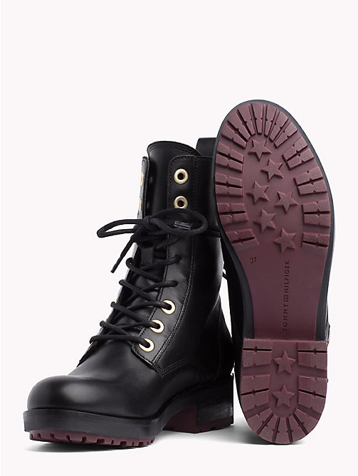 TOMMY HILFIGER Zip Detail Biker Boots - BLACK - TOMMY HILFIGER Shoes - detail image 1