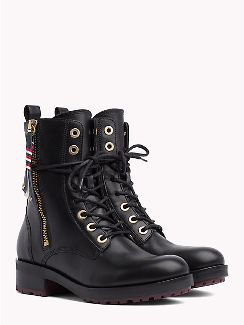 TOMMY HILFIGER Zip Detail Biker Boots - BLACK - TOMMY HILFIGER Shoes - main image