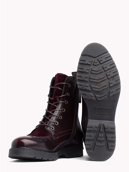 TOMMY HILFIGER Star Brogue Leather Boots - DECADENT CHOCOLATE - TOMMY HILFIGER Shoes - detail image 1
