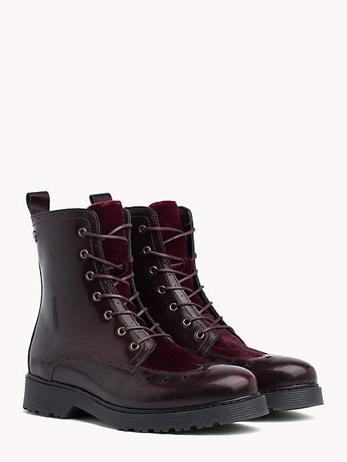 TOMMY HILFIGER Star Brogue Leather Boots - DECADENT CHOCOLATE - TOMMY HILFIGER Ankle Boots - main image