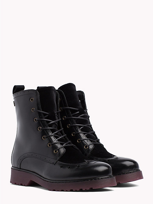 TOMMY HILFIGER Star Brogue Leather Boots - BLACK - TOMMY HILFIGER Shoes - main image